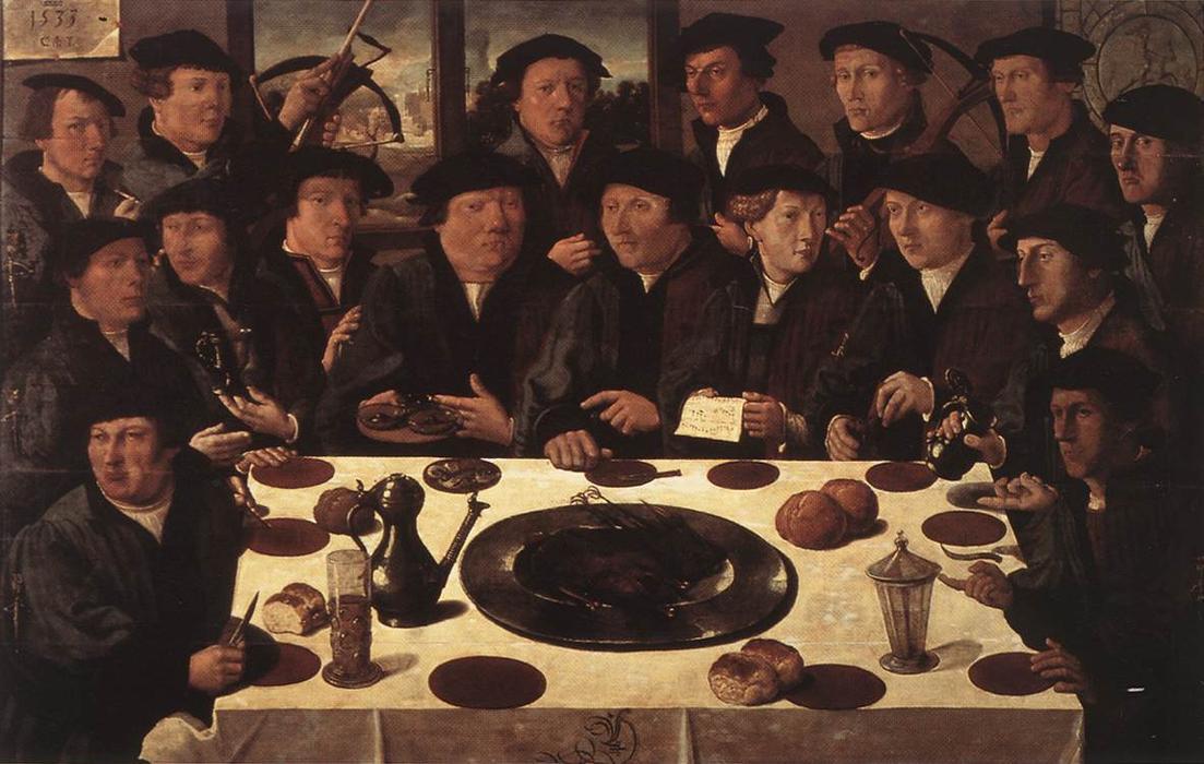Корнелис Антонис, «Банкет членов Амстердамской гражданской гвардии», 1553г.
