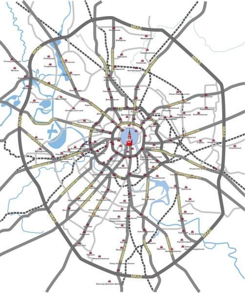 Карта Москвы основные дороги и станции метро