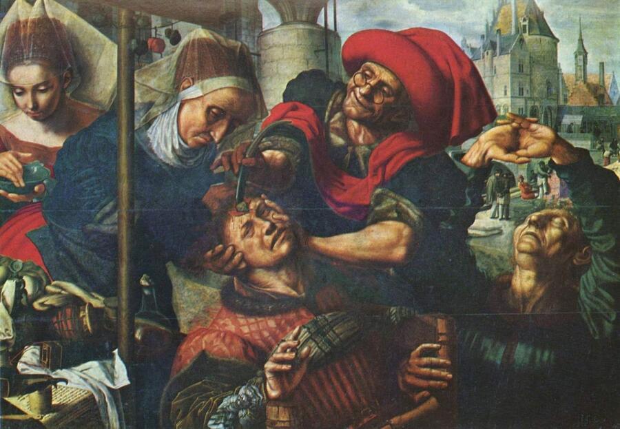 Ян ван Хемессен, «Извлечение камней глупости», 1545—1550 гг.