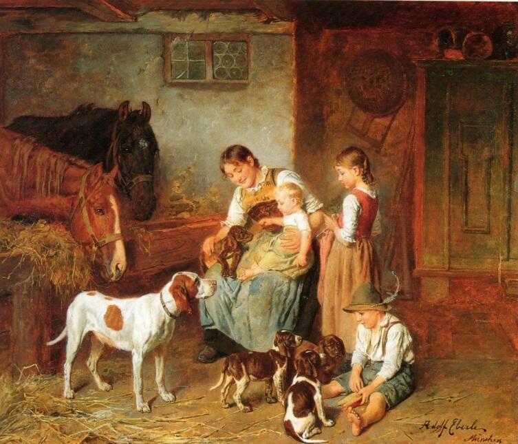 Адольф Эберле, «Семья в амбаре»