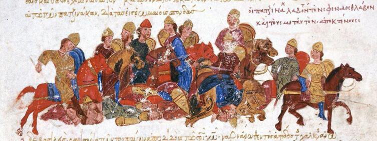 Печенеги убивают Святослава Игоревича, средневековый манускрипт