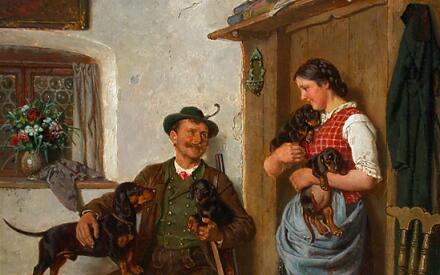 Адольф Эберле, «Охотник и служанка с семейством такс»