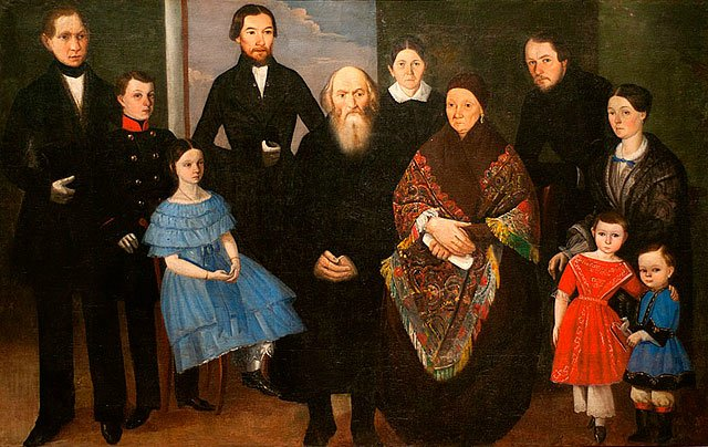 Неизвестный художник, «Портрет купеческой семьи», 1830−1840-е гг.