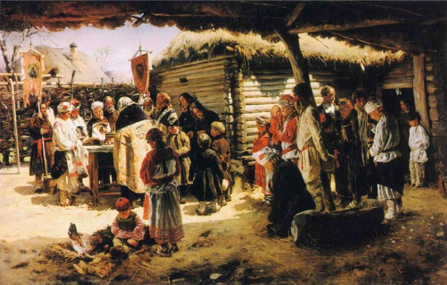 В. Е. Маковский, «Молебен на Пасху», 1887−1888 гг.