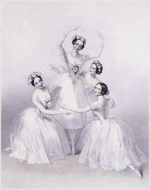 Шарлотта Гризи, М. Тальони, Люсиль Гран и Фанни Черрито на литографии Шалон, Лондон, 1845 г.
