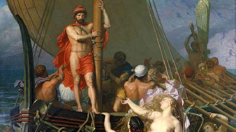 Leon Belly, «Одиссей и Сирены», фрагмент