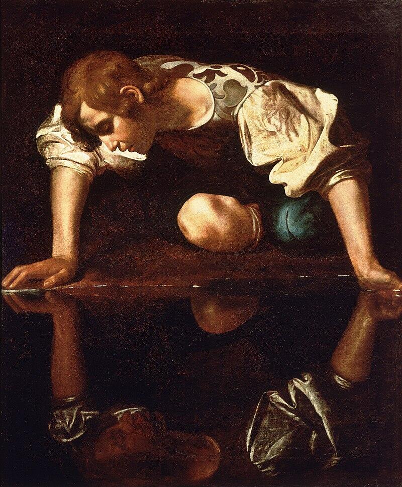 Караваджо, «Нарцисс у ручья», 1597−1599 г.