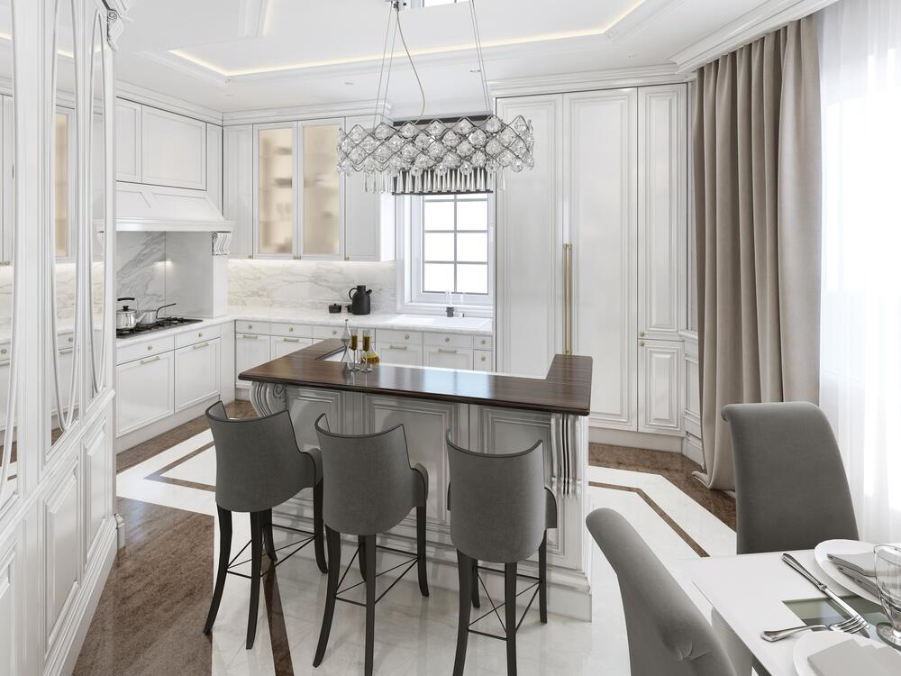 Кухня-столовая в стиле ар-деко