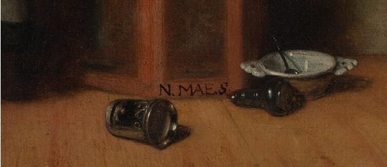 Николас Мас, «Кружевница», фрагмент «Посуда на полу»