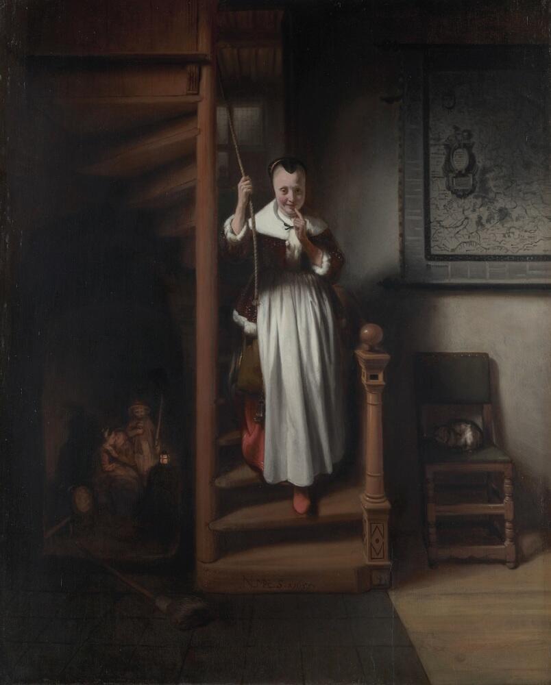 Николас Мас, «Домоправительница подслушивает», 1655г.