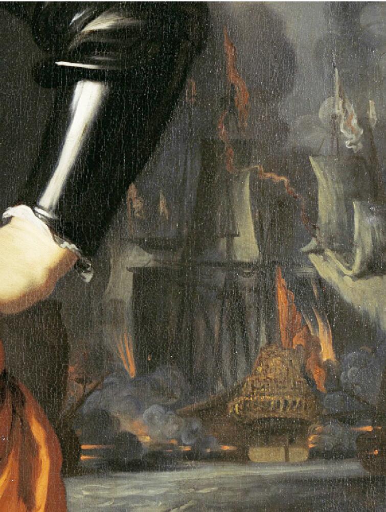 Николас Мас, «Портрет Корнелиса Эверстена де Жонгсте, лейтенант-адмирала», фрагмент «Горящие корабли»