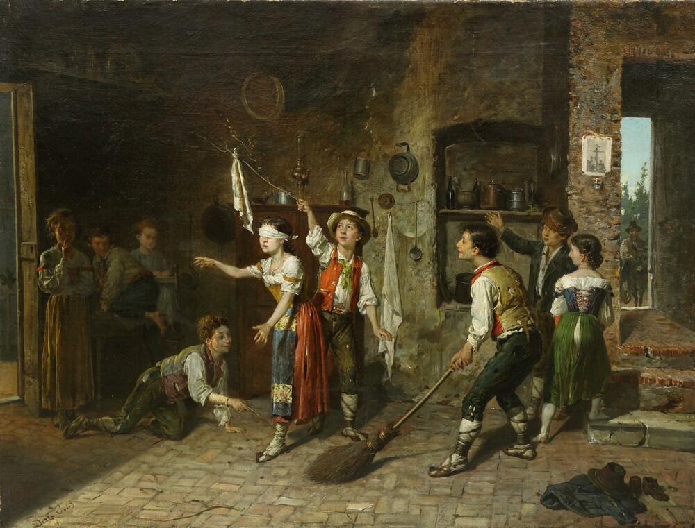 Чезаре Аугусто Детти, «Игра в жмурки», 1869г.