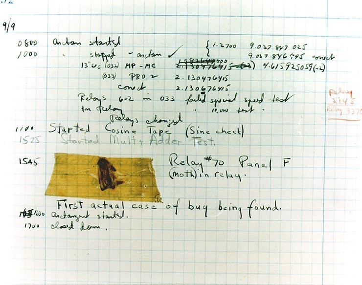 Фото «первого компьютерного бага»