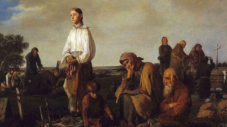 А. И. Корзухина, «Поминки на деревенском кладбище», 1865г.