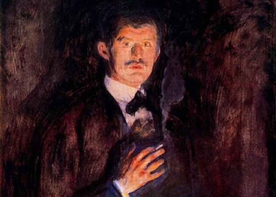 Эдвард Мунк, «Автопортрет с зажженной сигаретой», фрагмент, 1895г.