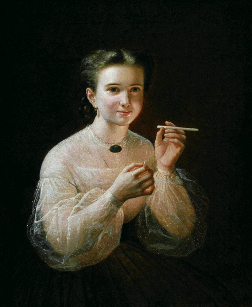 П. Е. Заболотский, «Девушка с папиросой», 1830-е гг.