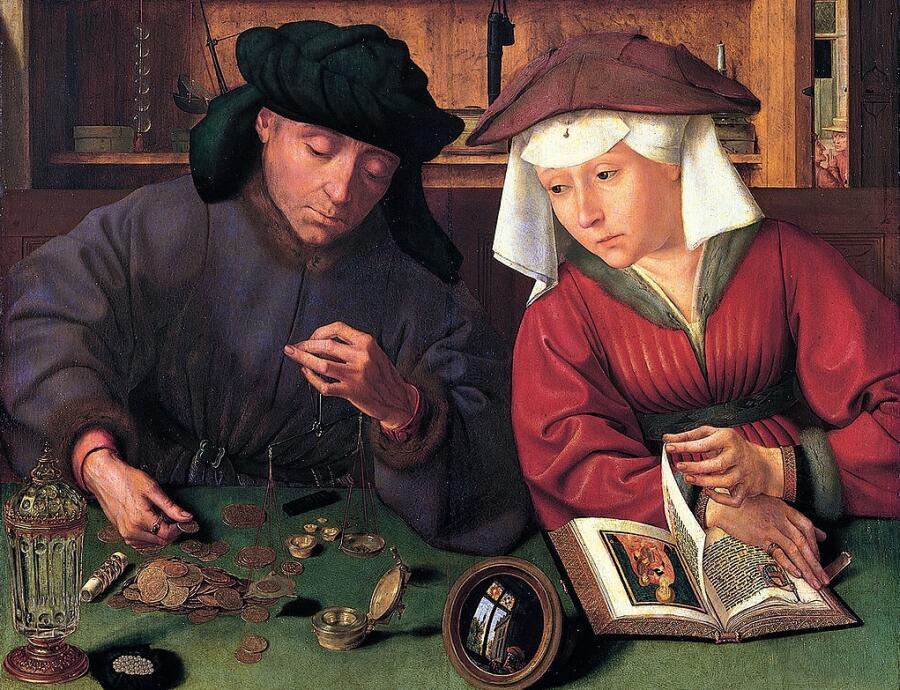 Квентин Массейс, «Меняла с женой», фрагмент, ок. 1514г.