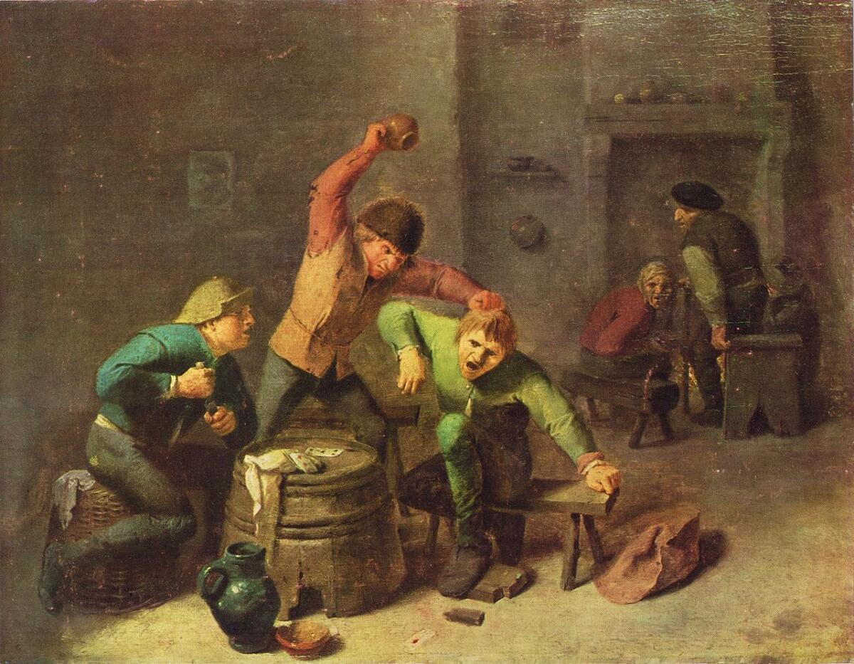 Адриан Брауэр, «Драка крестьян при игре в карты», 1630−1640 гг.