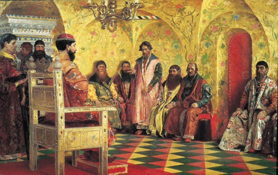 А. П. Рябушкин, «Совет царя Михаила Федоровича с боярами в его государевой комнате», 1893г.