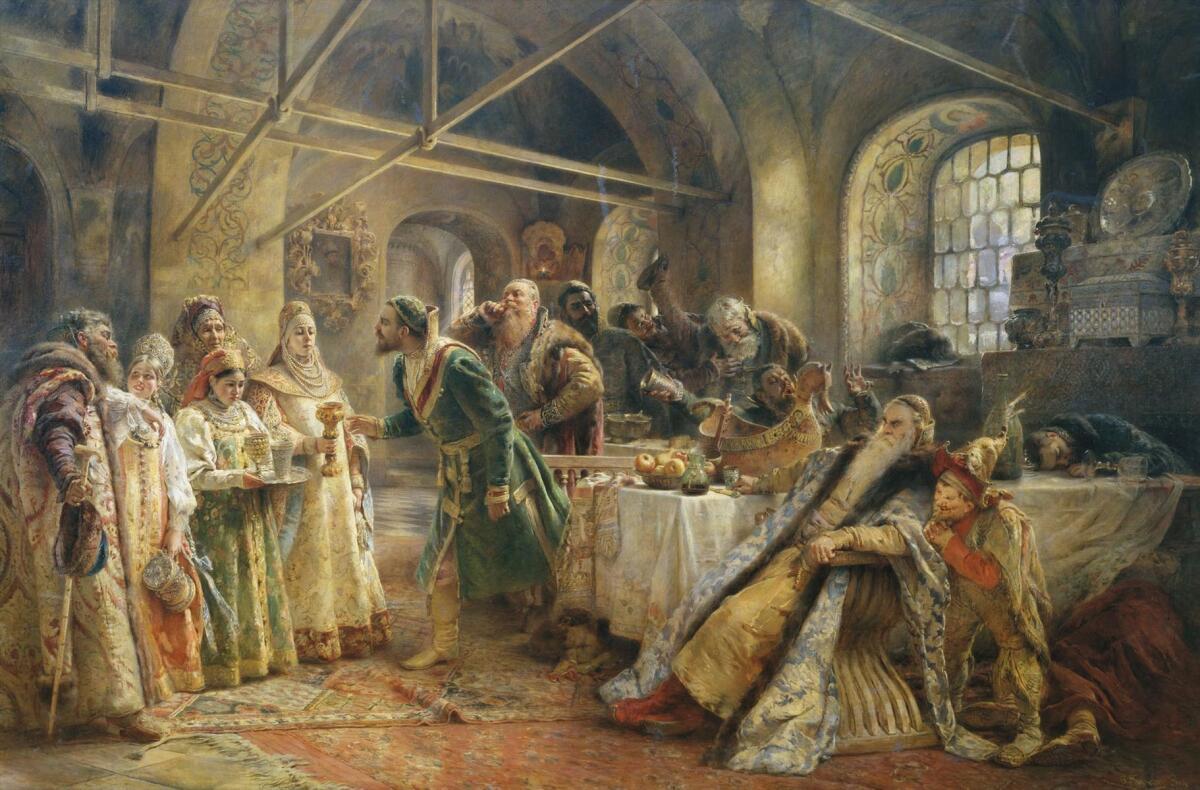 К. Е. Маковский, «Поцелуйный обряд (Пир у боярина Морозова)»