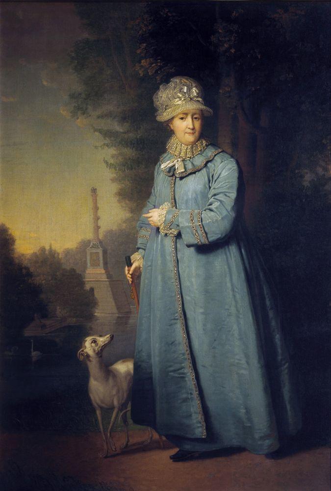 В. Л. Боровиковский, «ЕкатеринаII на прогулке в Царскосельском парке с Чесменской колонной на заднем фоне», 1794г.