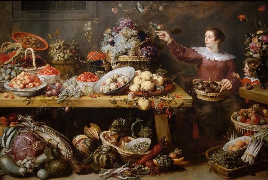 Франс Снейдерс, «Натюрморт с фруктами и овощами», 1635г.
