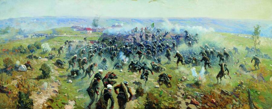 М. Б. Греков, «Атака лейб-гвардии Гренадерского полка на турецкие позиции под Горным Дубняком 12октября 1877 года», 1914г.