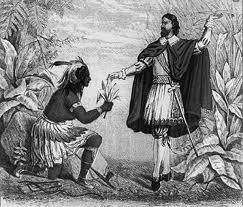 Родриго де Херес и индеец подносящий в дар листья табака
