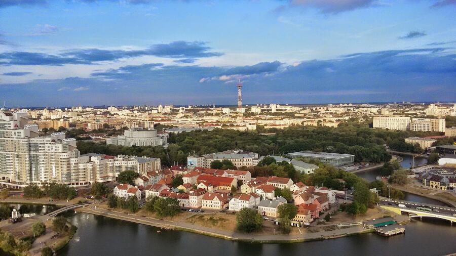 Минск. Вид на реку Свислочь и Троицкое предместье