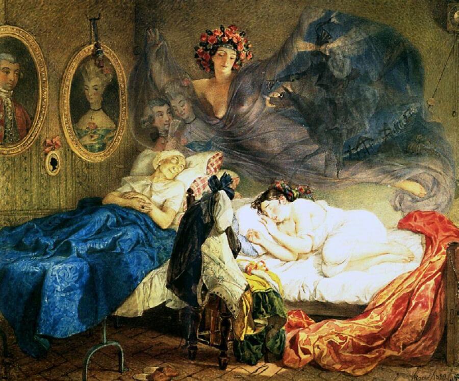 Карл Брюллов, «Сон бабушки и внучки», 1829г.