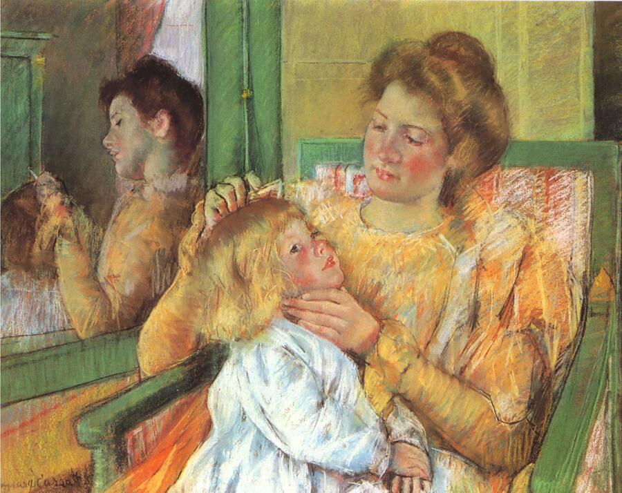 Мэри Кассат, «Мать расчесывает ребенку волосы», 1879г.