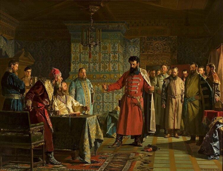 Н.Неврев, «Захар Ляпунов во главе бояр предлагает Василию Шуйскому оставить престол», 1886 г.