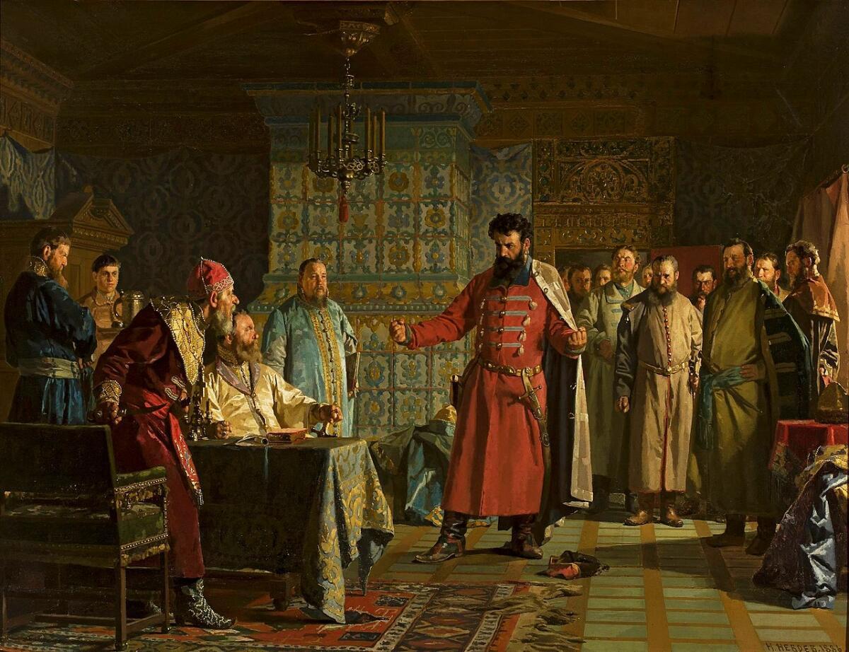 Н. Неврев, «Захар Ляпунов во главе бояр предлагает Василию Шуйскому оставить престол», 1886г.