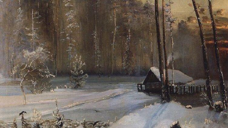 А. К. Саврасов, «Лес в инее», фрагмент, 1890г.