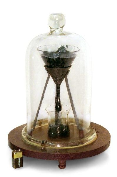 Эксперимент, иллюстрирующий вязкость асфальта: кусок асфальта был помещён в воронку в 1927 году и оставлен, к 2007 году значительная часть асфальта перетекла в стакан