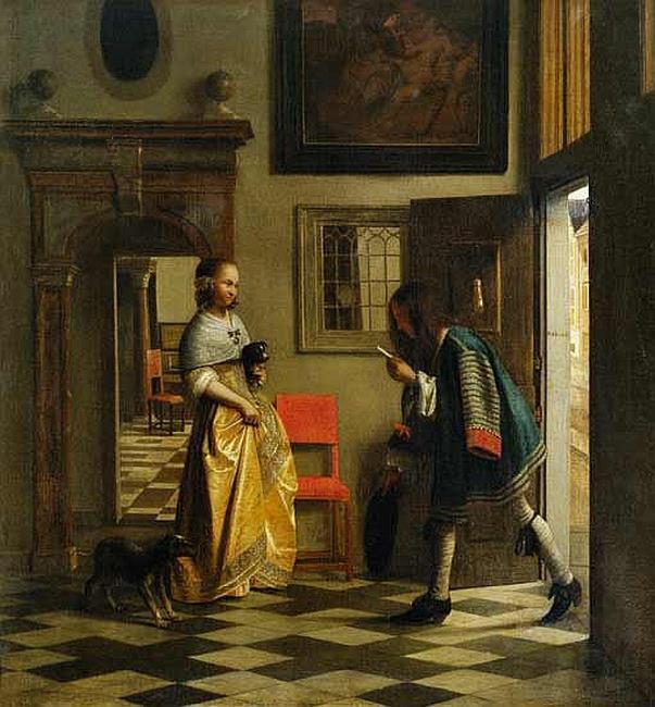 Питер де Хох, «Молодая женщина получает письмо», 1670г.