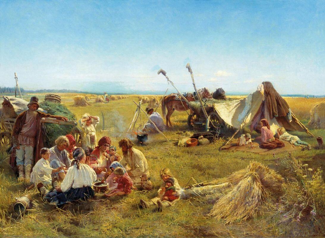 К. Е. Маковский, «Крестьянский обед во время жатвы», 1871г.