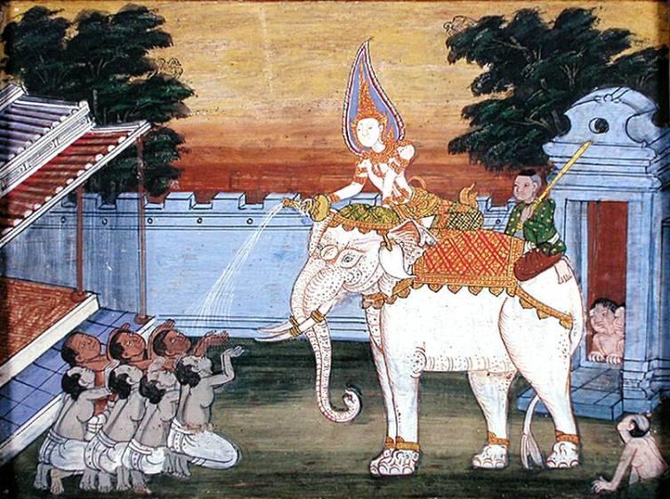 Королевский белый слон в тайском искусстве XIX века
