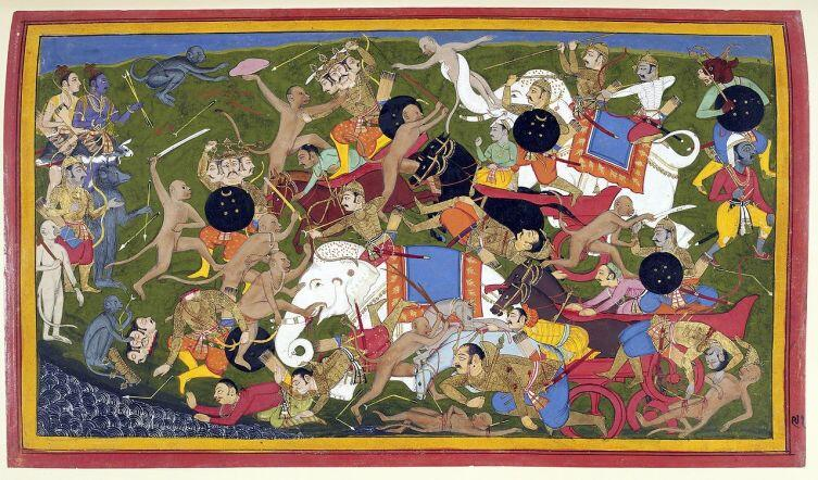 Рисунок XVII века к древнеиндийскому эпосу «Рамаяна»