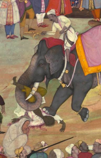 Казнь слоном. Иллюстрация из «Акбарнамы», официальной хроники правления императора Великих Моголов