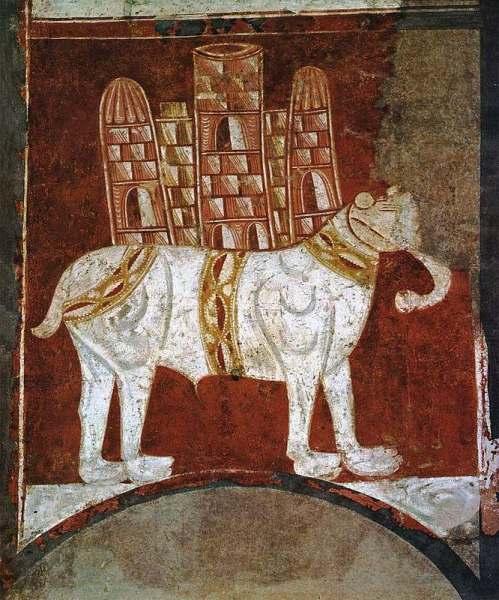 Романская картина военного слона. Испания, ХI век