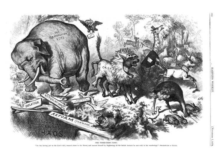 Карикатура «Паника третьего срока» из выпуска «Harper's Magazine» 7ноября 1874г.