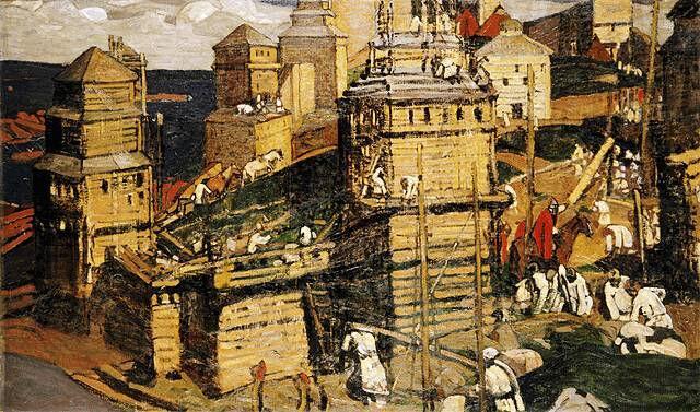 Н. К. Рерих, «Город строят», 1902 г.