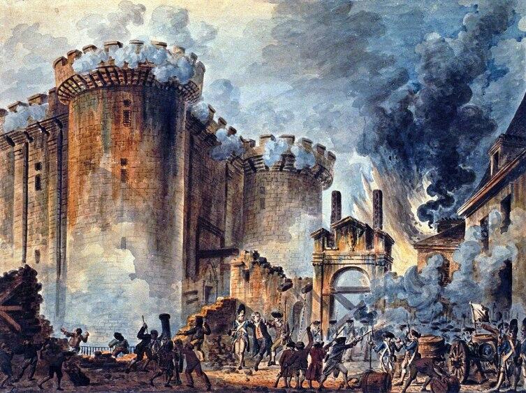 Jean-Pierre Houël, «Взятие Бастилии, 14 июля 1789 года», 1789 г.