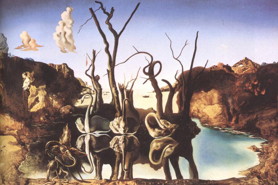 Сальвадор Дали, «Лебеди, отражающиеся в слонах», 1937 г.