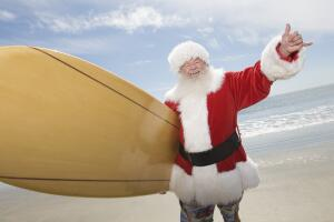 Где можно  увидеть Санту  на серфе?  Австралийское Рождество