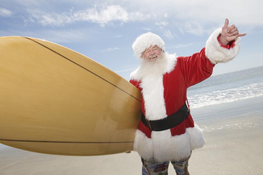Где можно  увидеть Санту  на серфере?  Австралийское Рождество