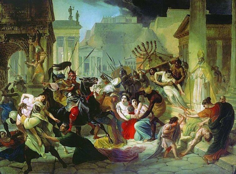 К. Брюллов, «Нашествие Гейзериха на Рим», эскиз, ок. 1834 г.