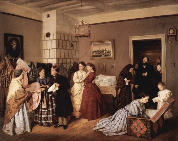 В.В. Пукирев, «Приём приданого в купеческой семье по росписи», 1873 г.