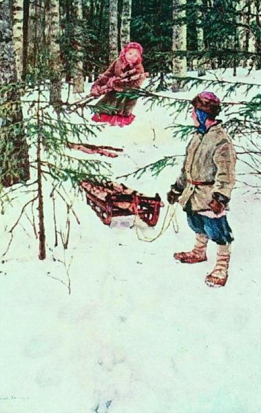 Николай Богданов-Бельский, «Зима», 1920 г.